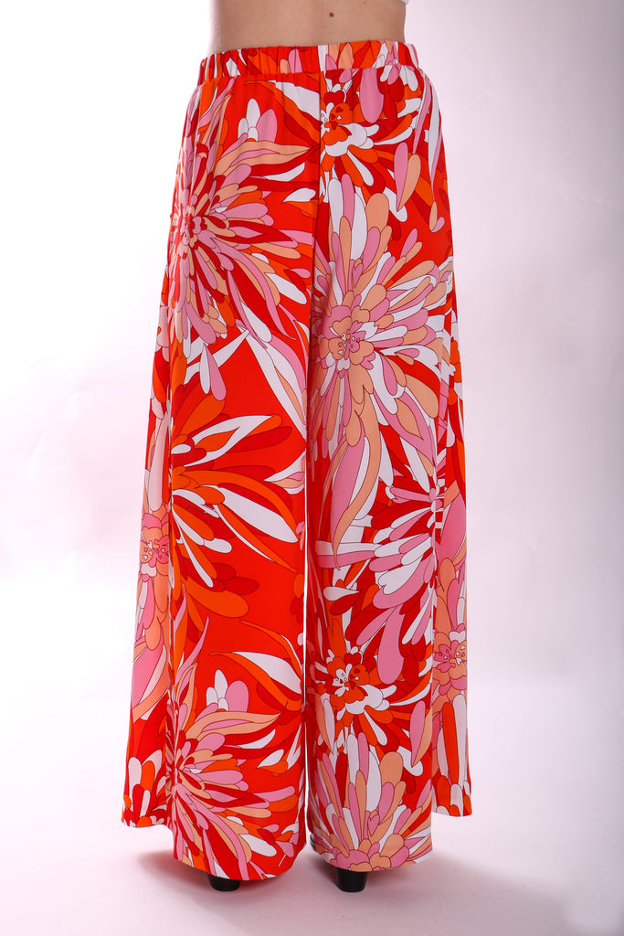 Traffic People Margot Floral Palazzo Trouser in Red Close Up Image