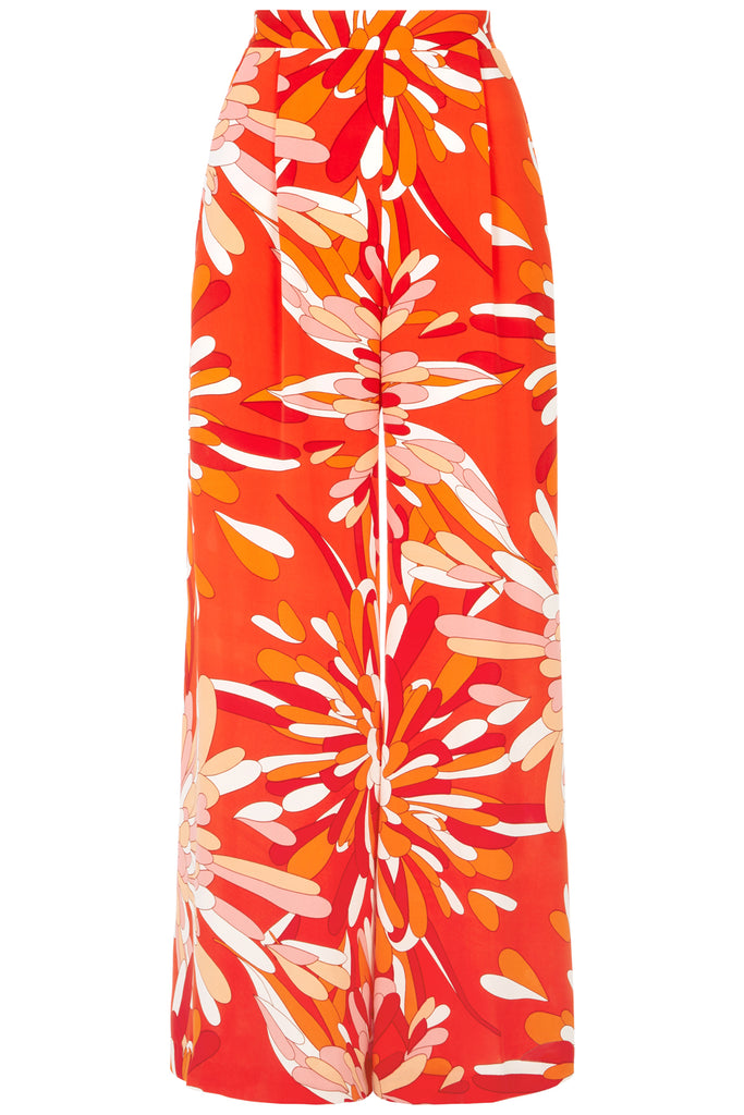 Traffic People Margot Floral Palazzo Trouser in Red FlatShot Image