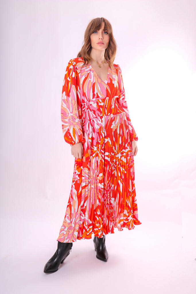 Traffic People Aurora Long Sleeve Midi Dress in Red Floral Print Front View Image