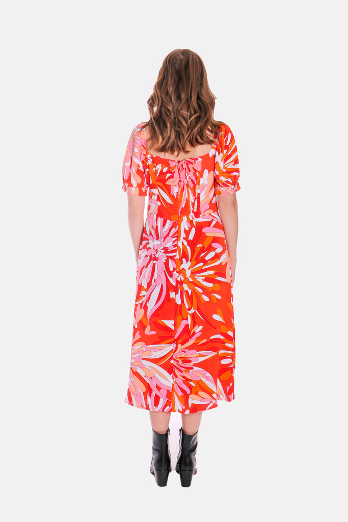 Traffic People Dandy Short Sleeve Midi Floral Dress in Red Back View Image