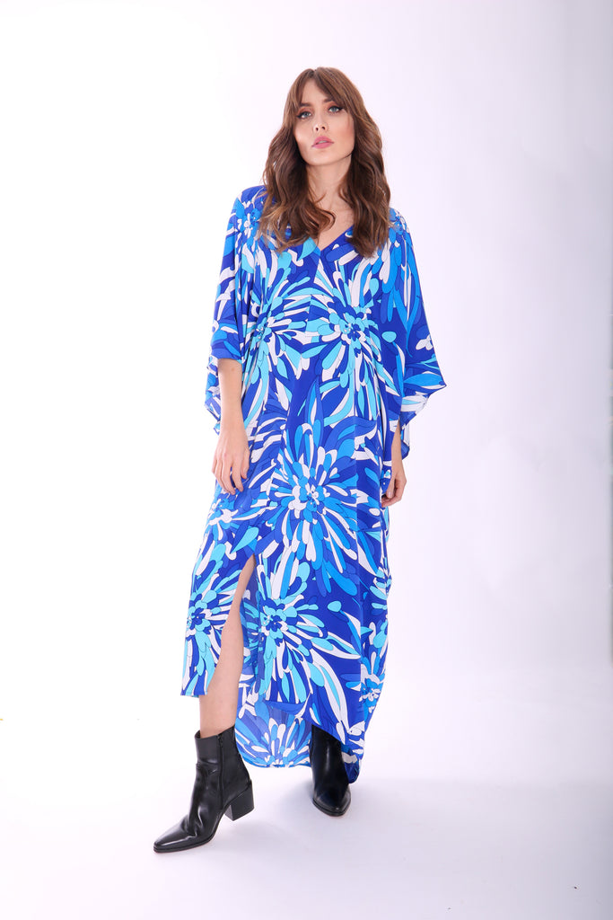 Traffic People God's Smile Maxi Kaftan in Blue Floral Print Front View Image