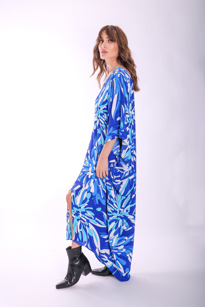 Traffic People God's Smile Maxi Kaftan in Blue Floral Print Side View Image