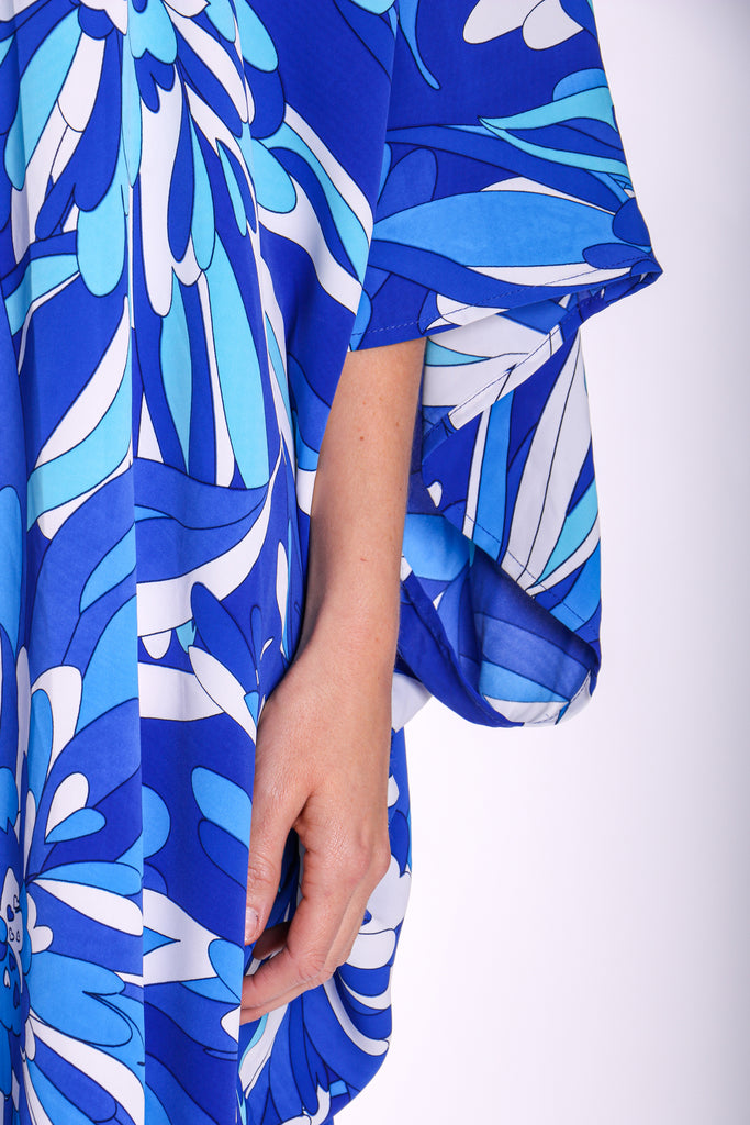 Traffic People God's Smile Maxi Kaftan in Blue Floral Print Close Up Image