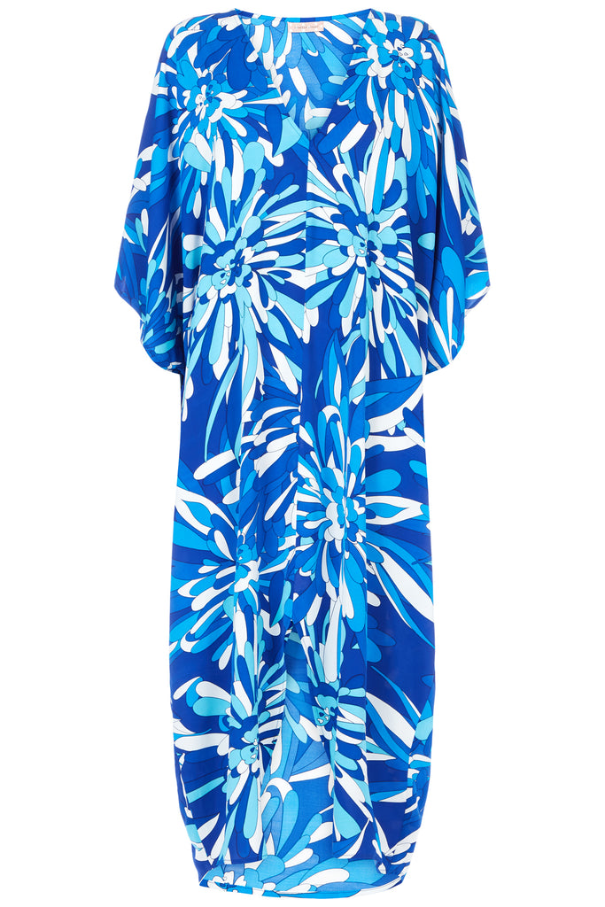 Traffic People God's Smile Maxi Kaftan in Blue Floral Print FlatShot Image