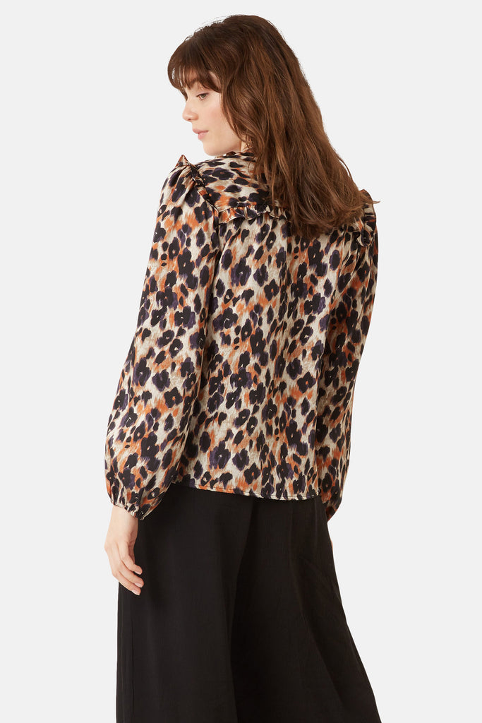 Traffic People Long Sleeve Blonde Ambition Shirt in Animal Print Side View Image
