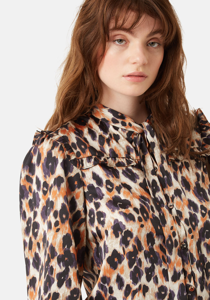 Traffic People Long Sleeve Blonde Ambition Shirt in Animal Print Close Up Image