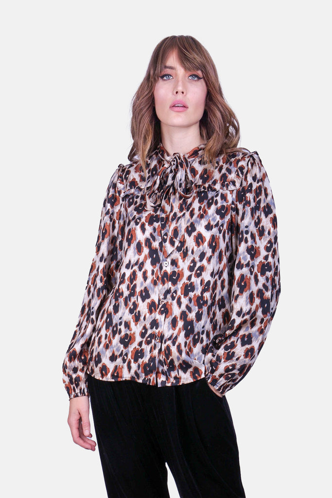 Pussy Bow Animal Print Blonde Ambition Shirt in Blue