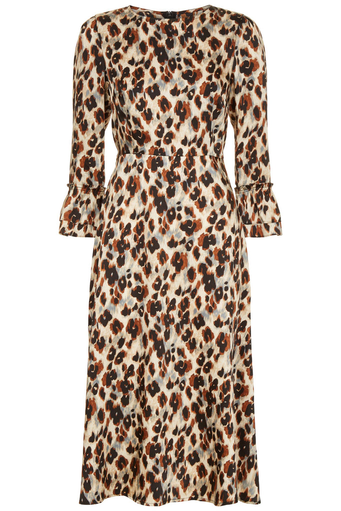Traffic People Forgotten Animal Print Midi Dress in Blue FlatShot Image