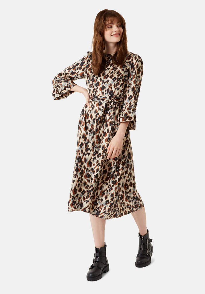 Traffic People Forgotten Animal Print Midi Dress in Blue Side View Image