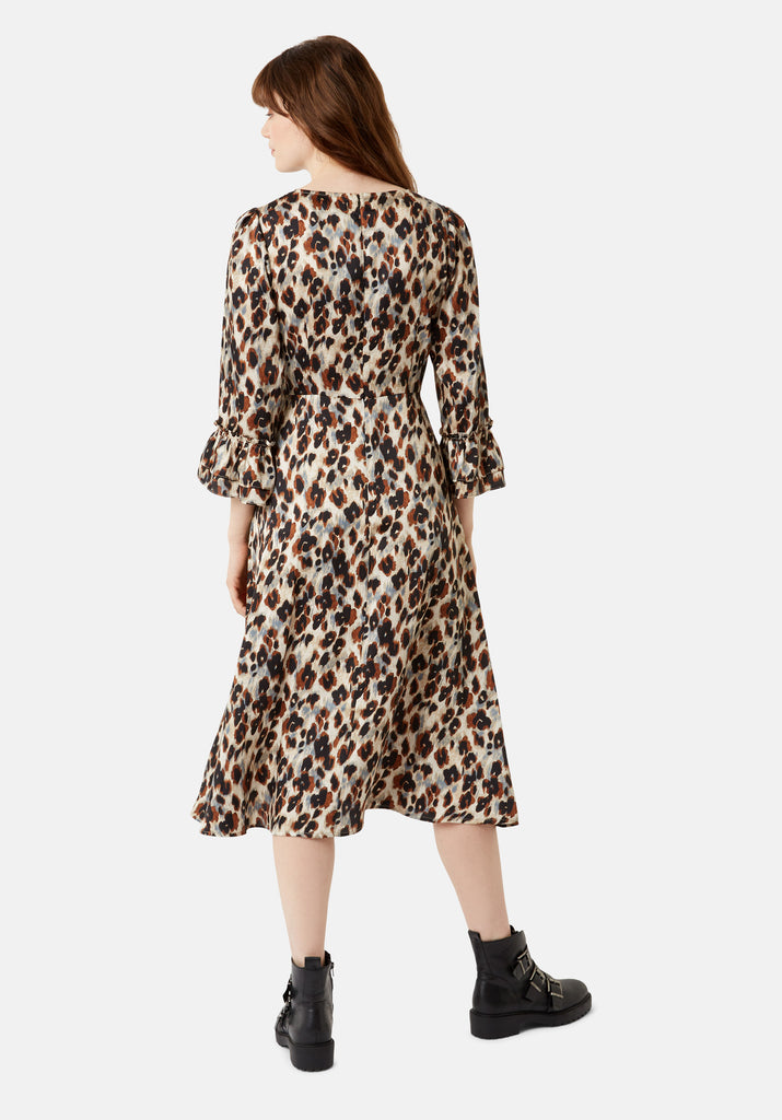 Traffic People Forgotten Animal Print Midi Dress in Blue Back View Image