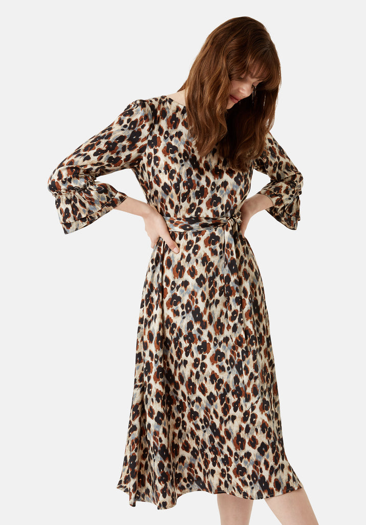 Traffic People Forgotten Animal Print Midi Dress in Blue Front View Image