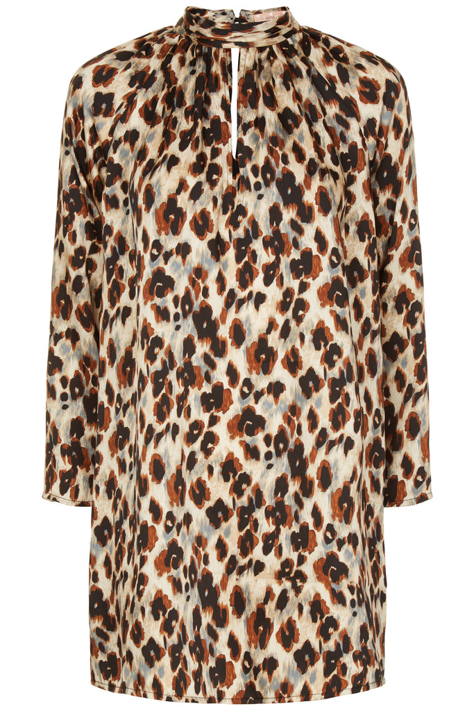 Traffic People Leopard Print Glib Mini Shift Dress in Blue FlatShot Image
