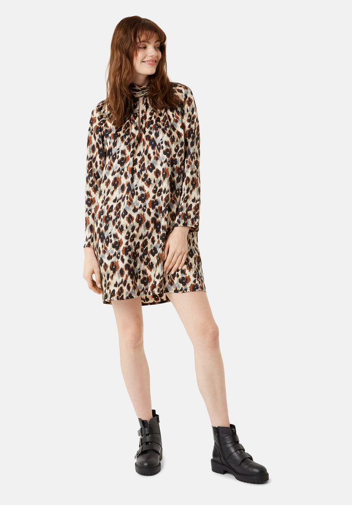 Traffic People Leopard Print Glib Mini Shift Dress in Blue Front View Image
