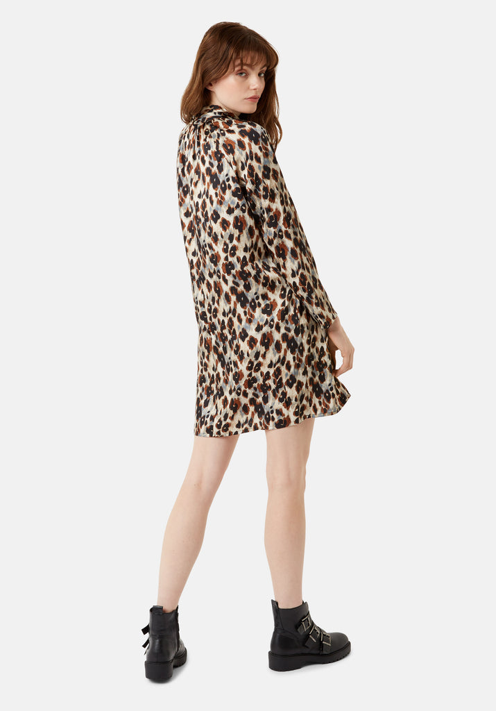 Traffic People Leopard Print Glib Mini Shift Dress in Blue Side View Image