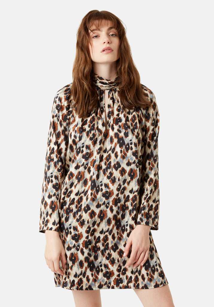 Traffic People Leopard Print Glib Mini Shift Dress in Blue Back View Image