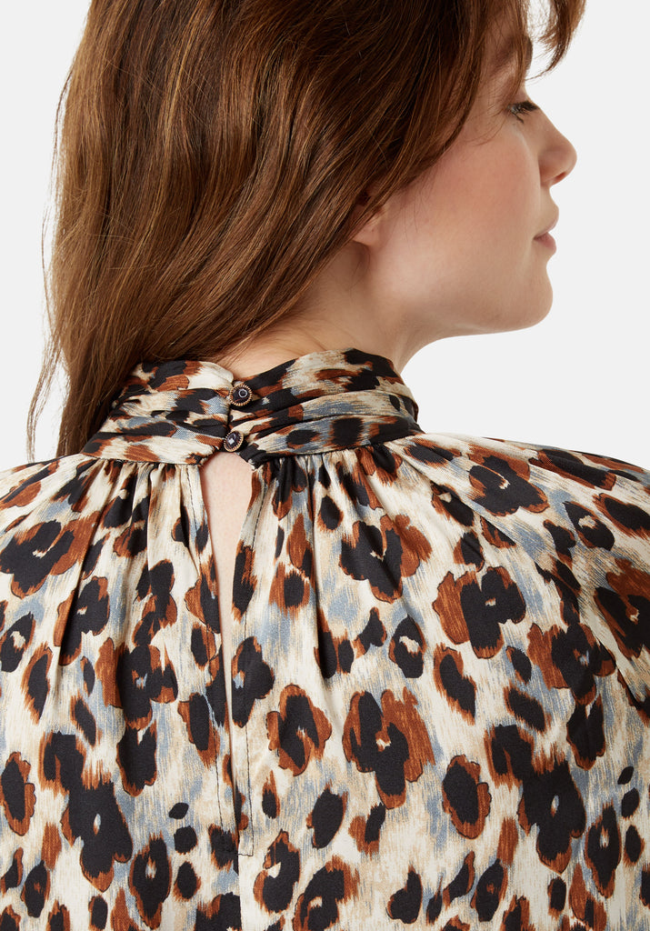 Traffic People Leopard Print Glib Mini Shift Dress in Blue Close Up Image