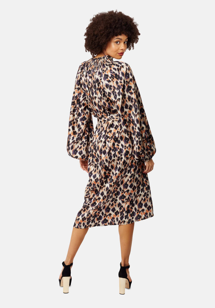 Traffic People V-Neck Silenced Midi Dress in Blue Leopard Print Side View Image