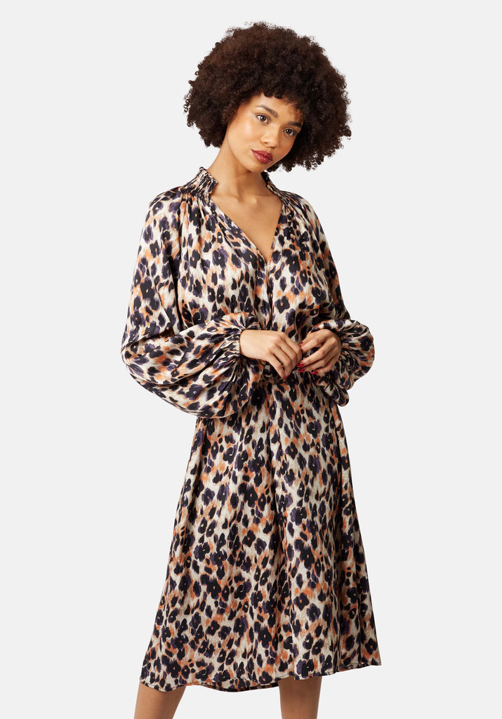 Traffic People V-Neck Silenced Midi Dress in Blue Leopard Print Front View Image