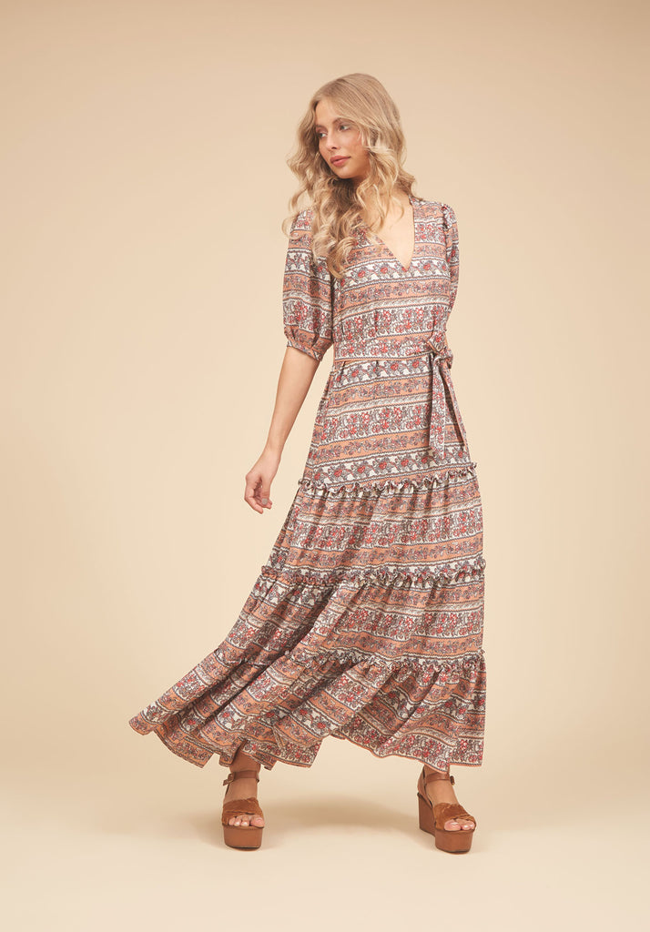 Traffic People Felicitations V-neck Maxi Dress in Peach Front View Image
