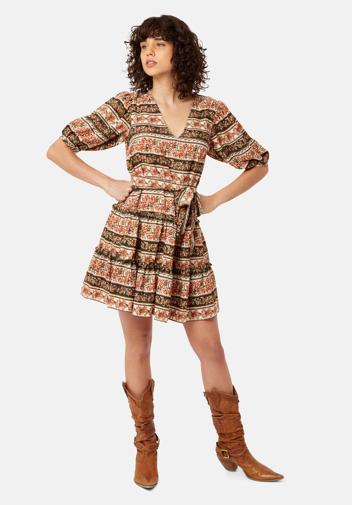 Traffic People Felicitous Boho Printed Mini Dress Front View Image