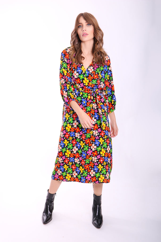 Belt Up Wrap Floral Dress in Black