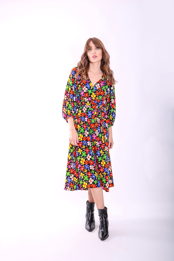 Traffic People Belt Up Wrap Floral Dress in Black Front View Image