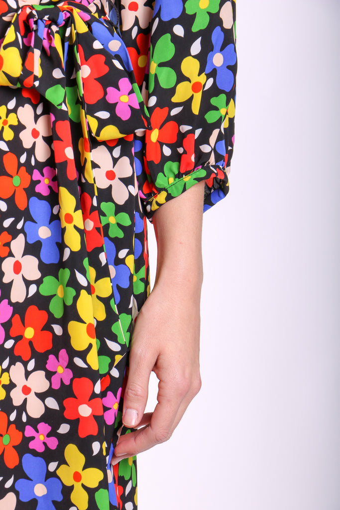 Traffic People Belt Up Wrap Floral Dress in Black Side View Image