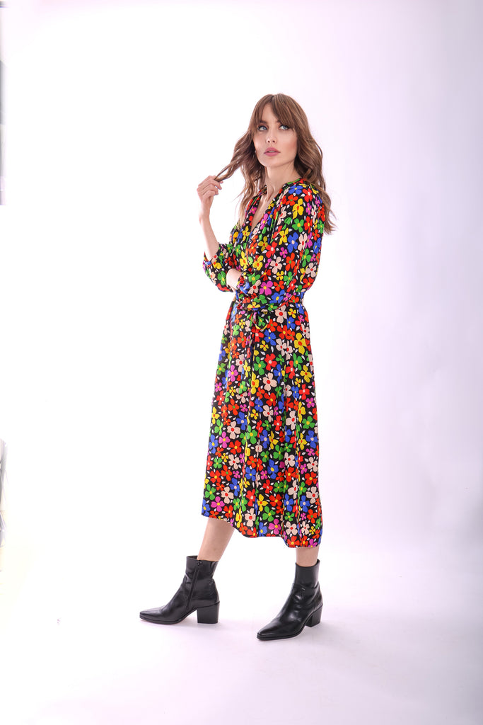 Traffic People Belt Up Wrap Floral Dress in Black Close Up Image