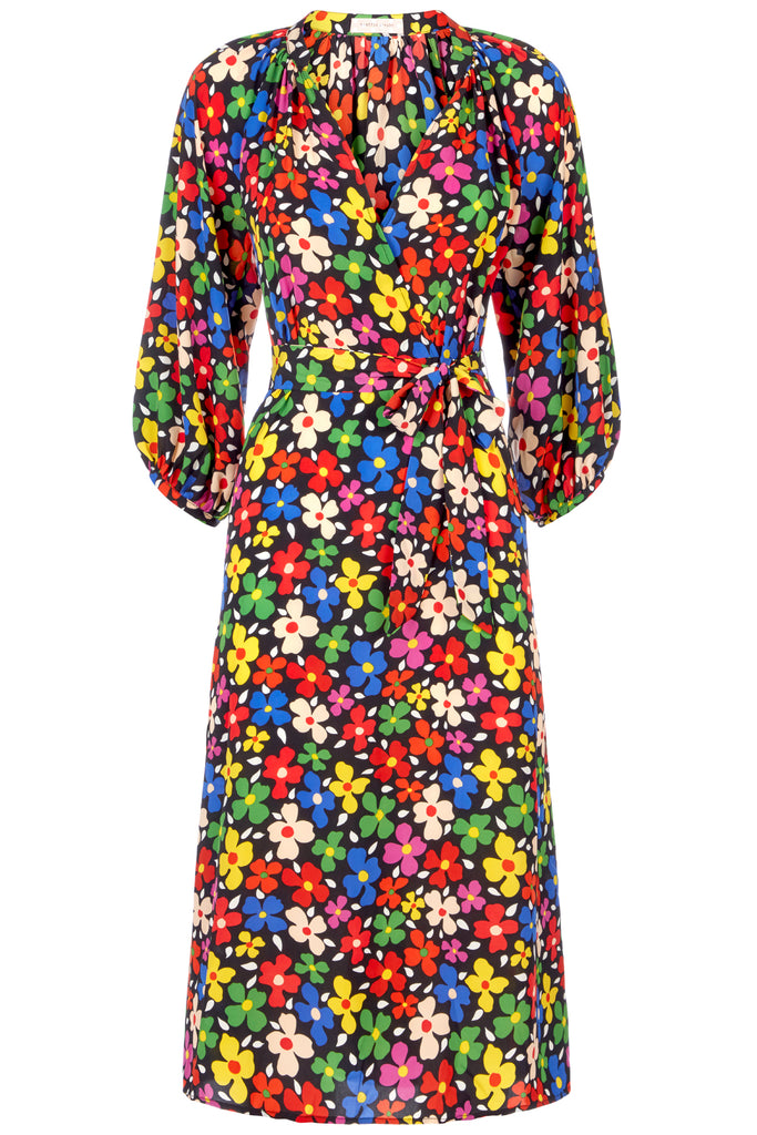 Traffic People Belt Up Wrap Floral Dress in Black FlatShot Image