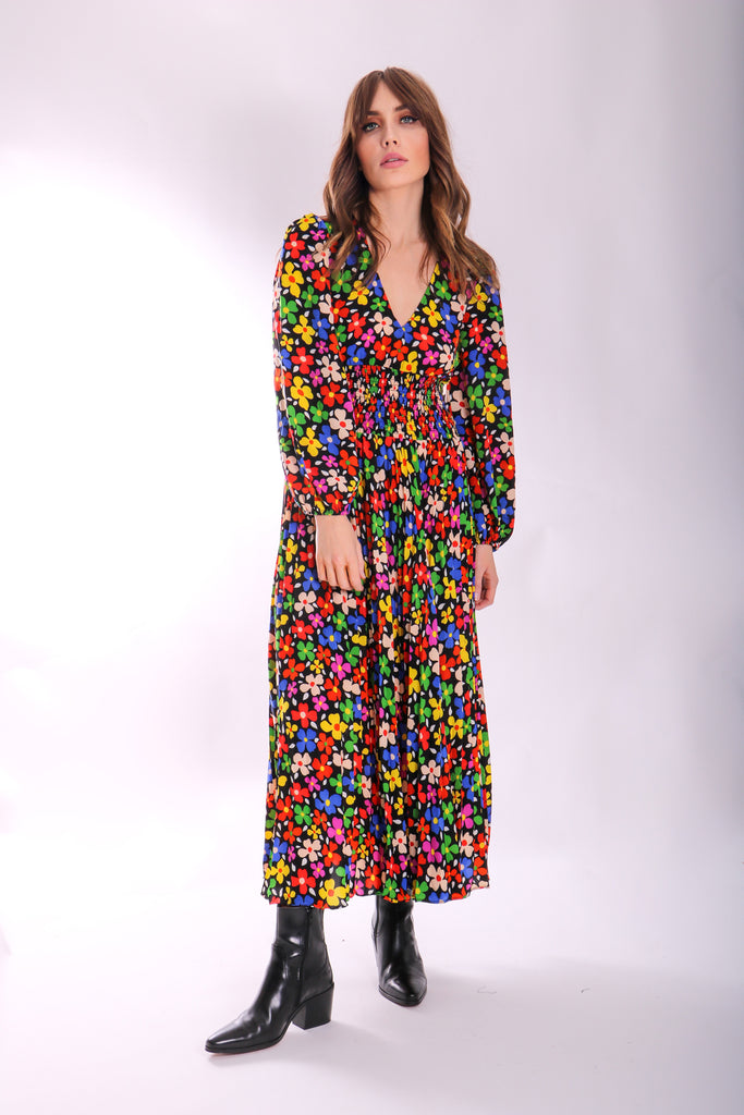 Traffic People Aurora Midi Pleated Dress in Floral Print Front View Image