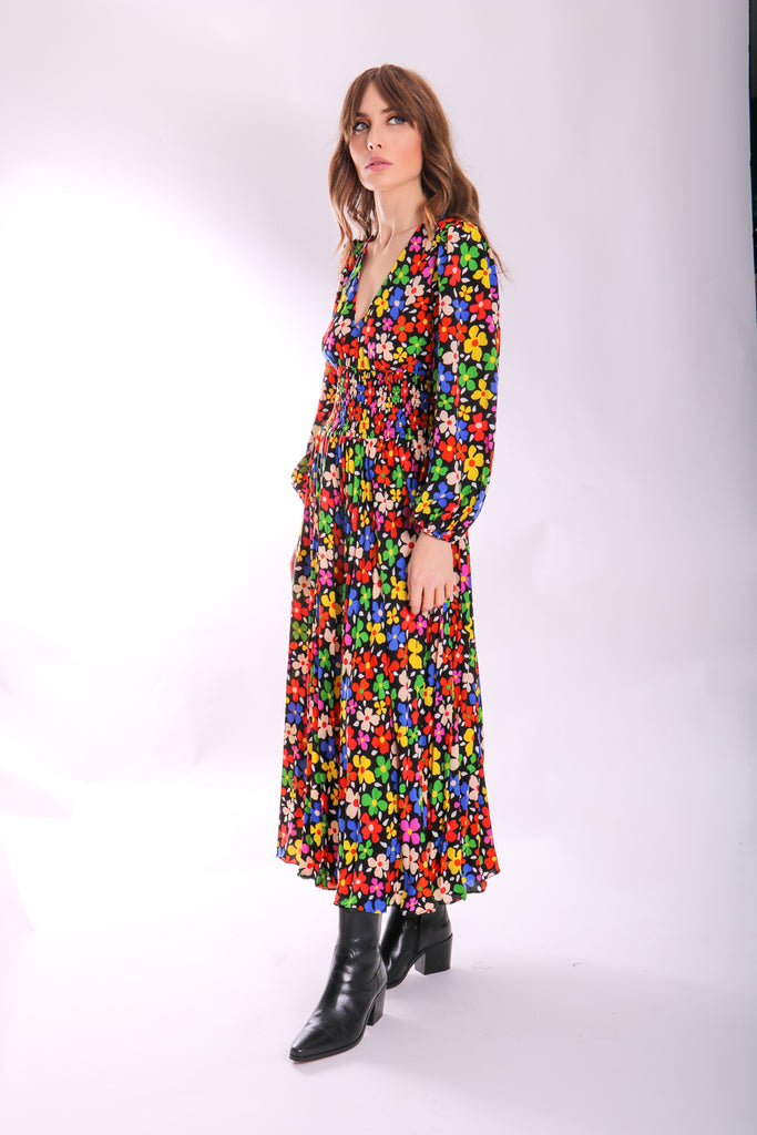 Traffic People Aurora Midi Pleated Dress in Floral Print Side View Image