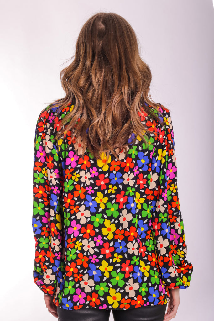 Traffic People Floral V-Neck Mollie Blouse in Black Front View Image
