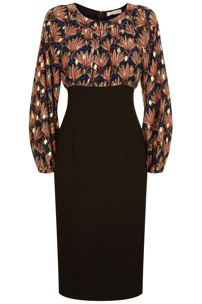 Traffic People Wiggle Printed Pencil Dress in Black FlatShot Image