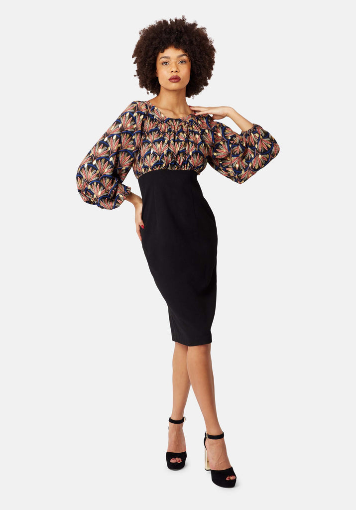 Traffic People Wiggle Printed Pencil Dress in Black Front View Image