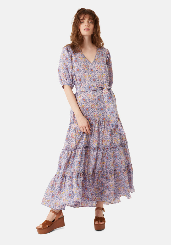 Traffic People Felicitations Printed Boho Maxi Dress in Purple Front View Image