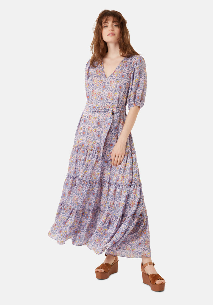 Traffic People Felicitations Printed Boho Maxi Dress in Purple Side View Image