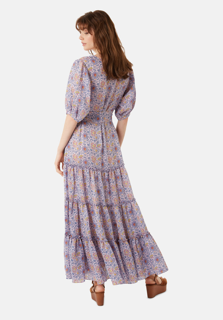 Traffic People Felicitations Printed Boho Maxi Dress in Purple Back View Image