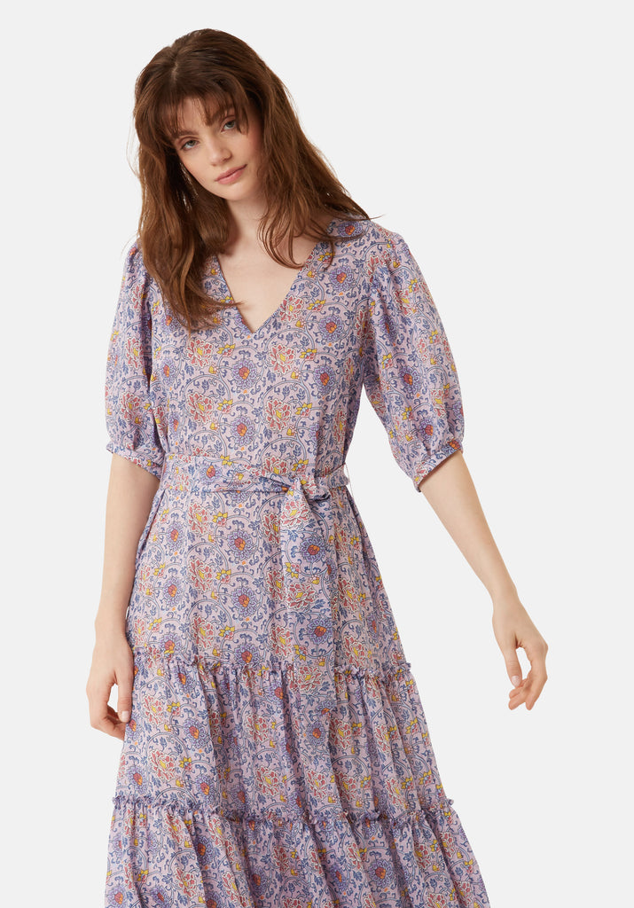 Traffic People Felicitations Printed Boho Maxi Dress in Purple Close Up Image