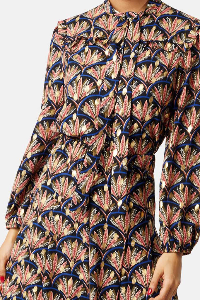 Traffic People Metallic Printed Wide-Leg Palazzo Trouser in Black Close Up Image