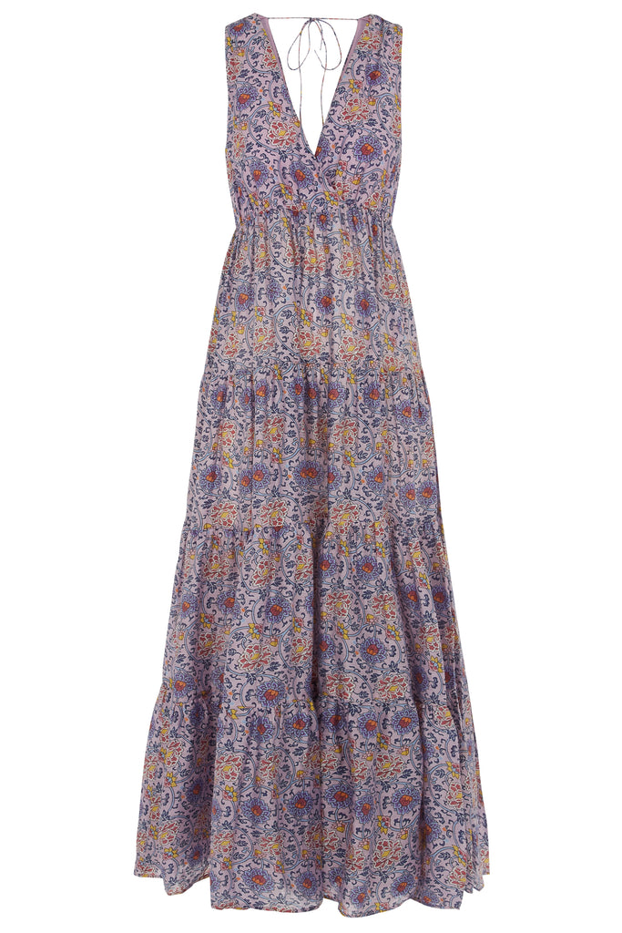 Traffic People Gaia Sleeveless Printed Maxi Dress in Purple FlatShot Image