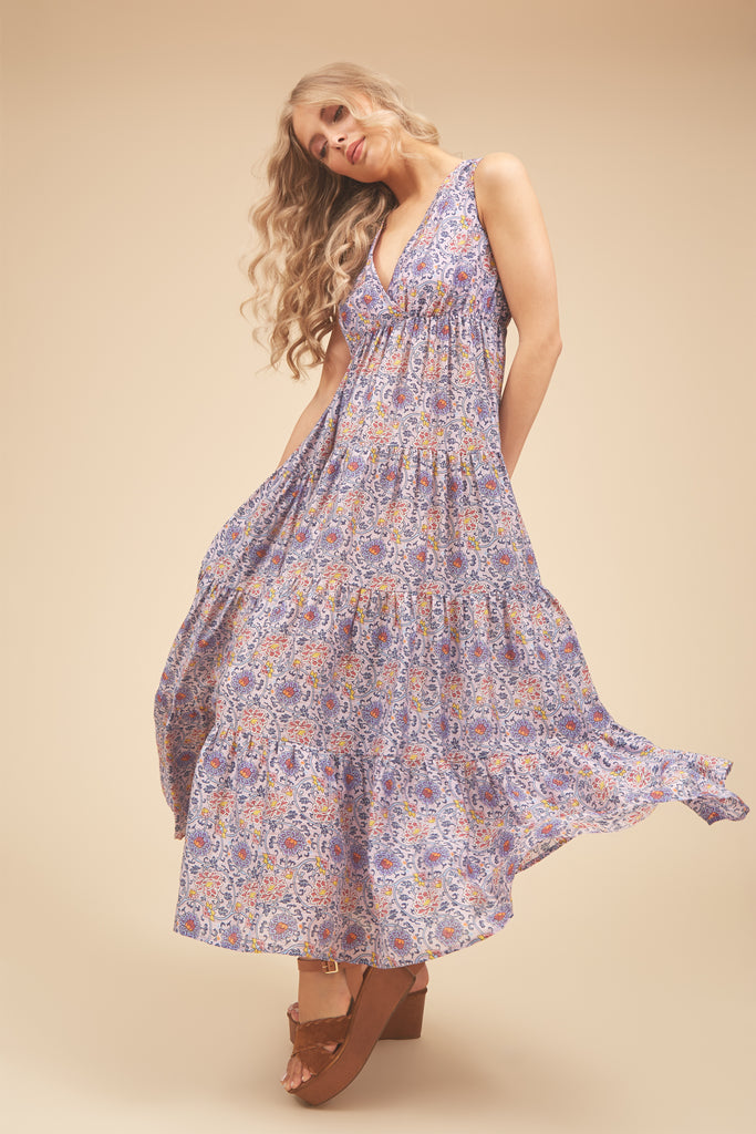 Traffic People Gaia Sleeveless Printed Maxi Dress in Purple Front View Image