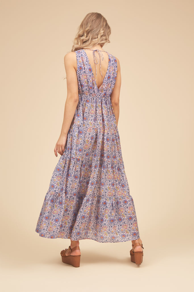Traffic People Gaia Sleeveless Printed Maxi Dress in Purple Back View Image