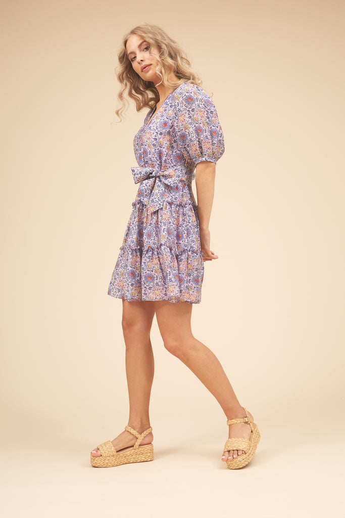 Traffic People Felicitous Boho Mini Dress in Purple Side View Image