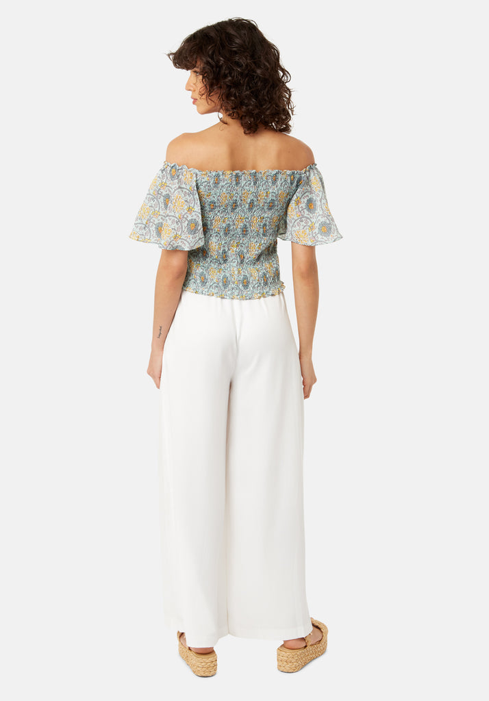 Traffic People Lolita Bardot Cropped Top in Green Back View Image
