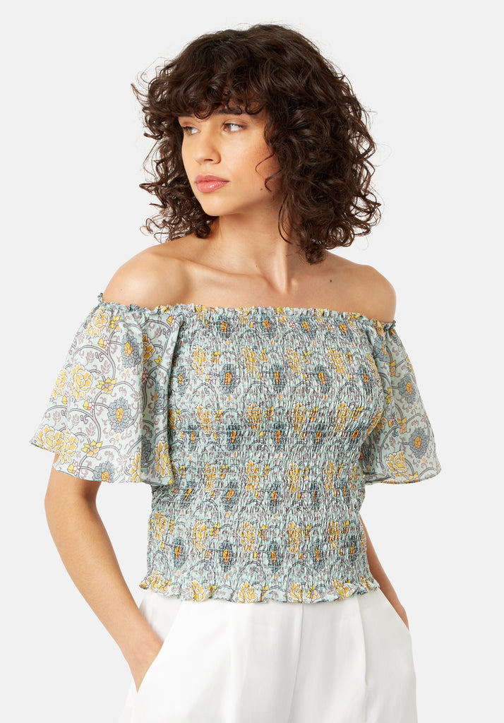 Traffic People Lolita Bardot Cropped Top in Green Side View Image
