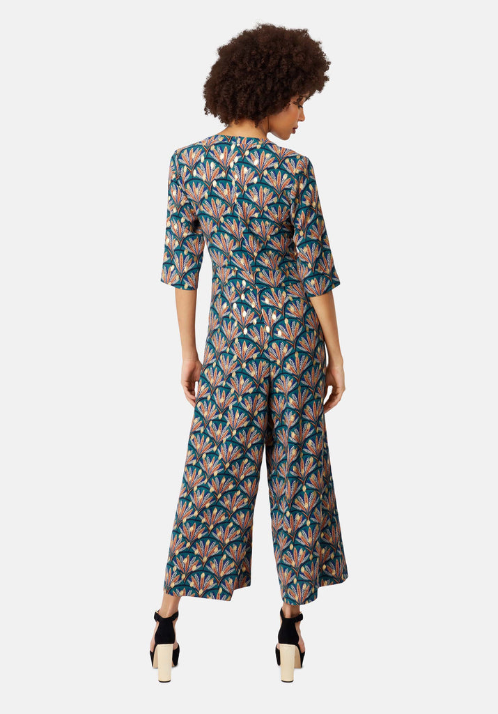 Traffic People Teal Green Printed V-neck Betty Jumpsuit Side View Image