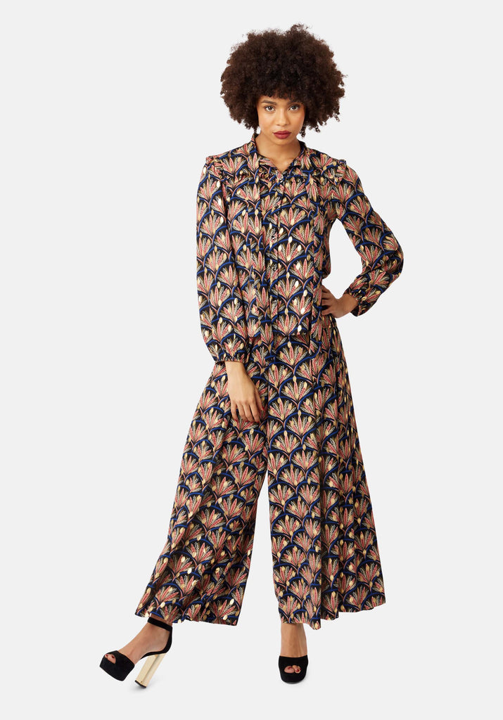 Traffic People Metallic Printed Wide-Leg Palazzo Trouser in Black Side View Image