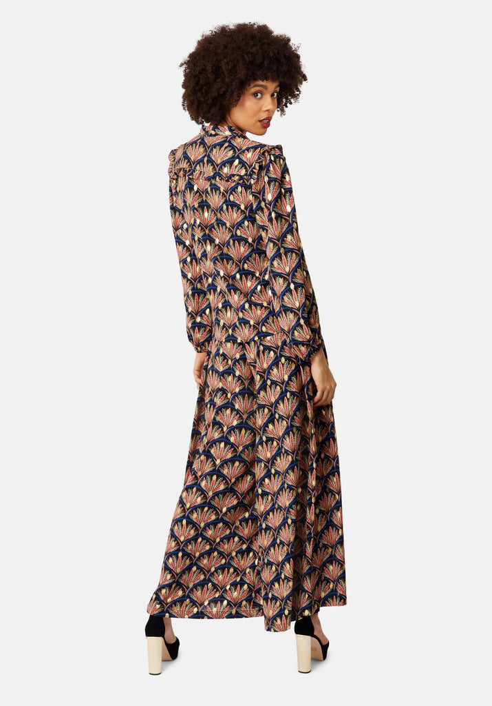 Traffic People Metallic Printed Wide-Leg Palazzo Trouser in Black Back View Image