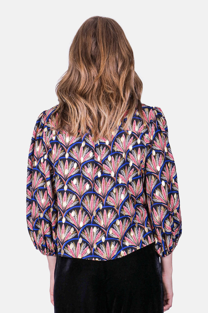 Traffic People Tabatha Long Sleeve Print Blouse in Black Back View Image