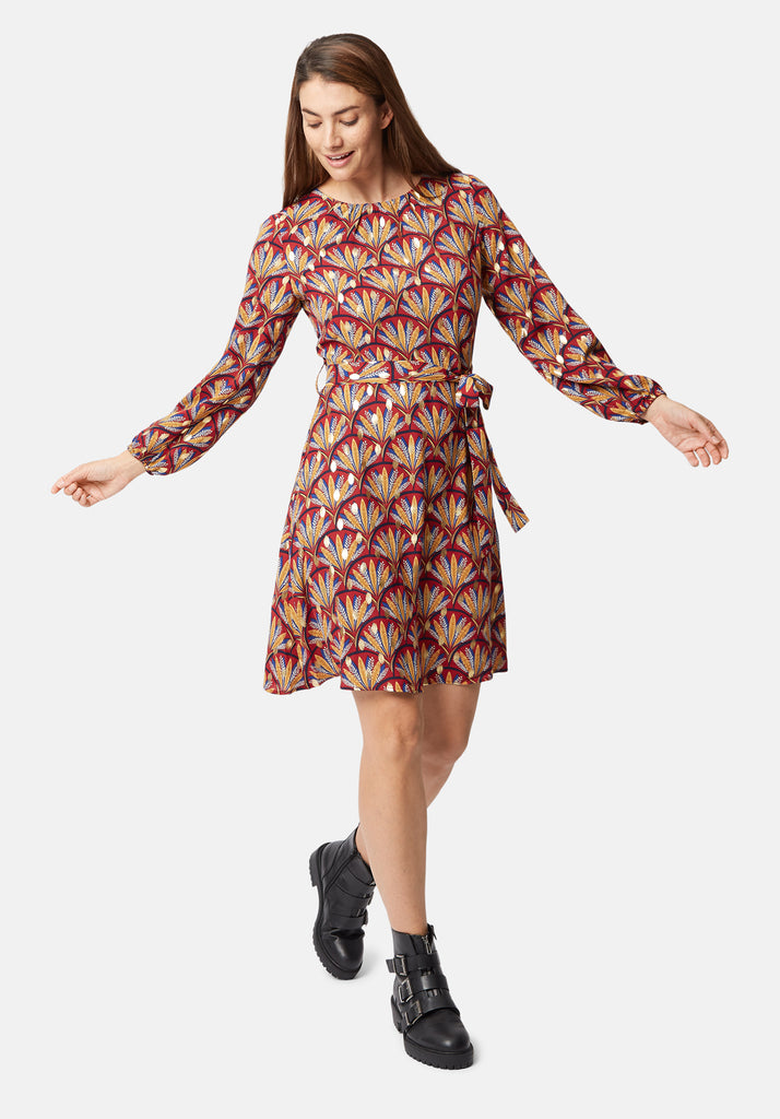 Traffic People Long Sleeve Printed Cusp Mini Dress in Wine Back View Image
